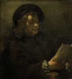 "Rembrandt ""Titus-van-Rijn-der-Sohn-des-Künstlers-lesend"" 21.9 x 16.8 cm"