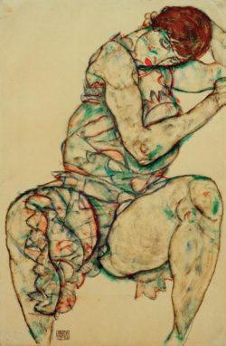 """Egon Schiele """"Sitzende mit linker Hand im Haar"""" 32 x 48 cm"""