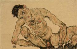 """Egon Schiele """"Selbstbildnis als Akt hockend"""" 46 x 30 cm"""
