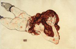 """Egon Schiele """"Am Bauch liegender weiblicher Akt mit offenem rotem Haar"""" 46 x 30 cm"""
