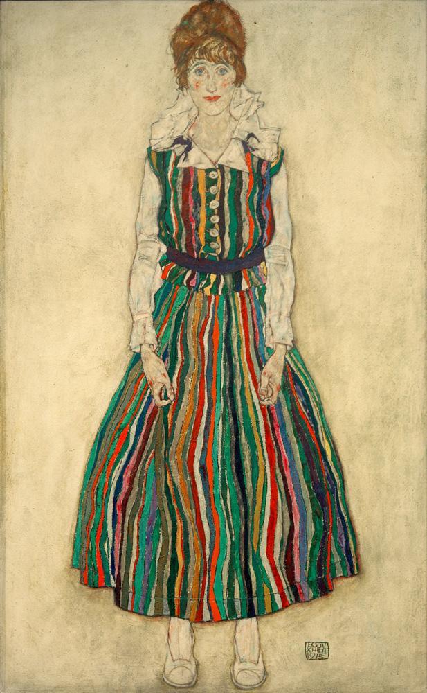 """Egon Schiele """"Bildnis der Frau des Künstlers stehend"""" 110 x 180 cm"""