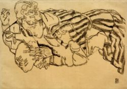 "Egon Schiele ""Edith Schiele und Neffe"" 34 x 48 cm"