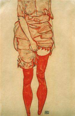 """Egon Schiele """"Stehende Frau in Rot"""" 32 x 48 cm"""