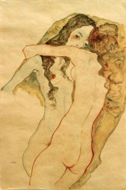 "Egon Schiele ""Zwei sich umarmende Frauen"" 37 x 56 cm"