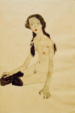 """Egon Schiele """"Sitzendes Mädchen mit Pferdeschwanz"""" 38 x 57 cm"""