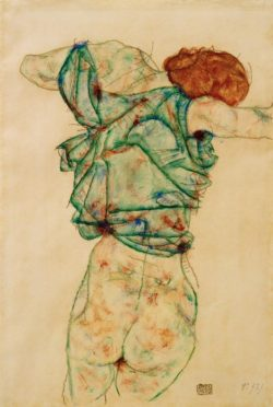 """Egon Schiele """"Sich entkleidende Frau"""" 32 x 47 cm"""