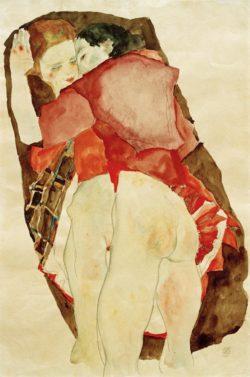 """Egon Schiele """"Zwei Mädchen"""" 31 x 48 cm"""