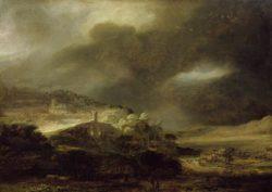 """Rembrandt """"Gewitterlandschaft-mit-Gebirgsstadt"""" 206 x 276 cm"""