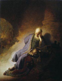 """Rembrandt """"Jeremias-über-die-Zerstörung-Jerusalems-trauernd"""" 97 x 71.3 cm"""