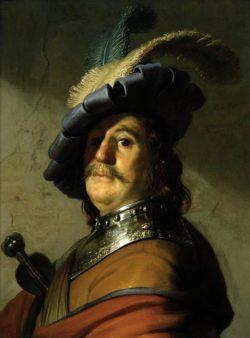 """Rembrandt """"Soldat-mit-eisernem-Halskragen-und-Federhut"""" 193 x 133 cm"""