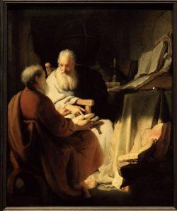 """Rembrandt """"Zwei-alte-Männer-im-Gespräch"""" 61 x 48 cm"""