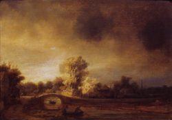 """Rembrandt """"Landschaft-mit-Steinbrücke"""" 72.4 x 59.7 cm"""