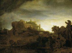 """Rembrandt """"Landschaft-mit-Schloß-in-der-Dämmerung"""" 28.1 x 39.6 cm"""