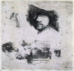 """Rembrandt """"Studienblatt-mit-Rembrand-Selbstbildnis-und-Bettlern"""" 359 x 438 cm"""