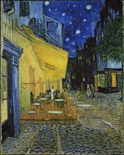"""Vincent van Gogh """"Terrasse des Cafés an der Place du Forum in Arles am Abend"""". 81 x 65,5 cm"""