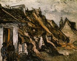 """Vincent van Gogh """"Strohgedeckte Huetten in Chaponval"""", 65 x 81 cm"""