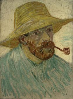 """Vincent van Gogh """"Selbstbildnis mit Strohhut"""" 42 x 30 cm"""