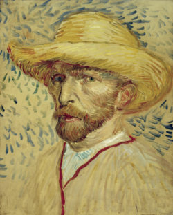 """Vincent van Gogh """"Selbstbildnis mit Strohhut und Malerkittel"""" 40,8 x 32,7 cm"""