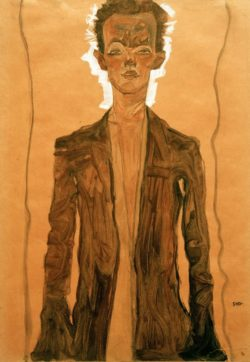 """Egon Schiele """"Selbstbildnis in braunem Mantel"""" 32 x 46 cm"""