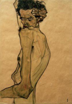 """Egon Schiele """"Selbstbildnis mit Arm über Kopf gezogen"""" 32 x 45 cm"""