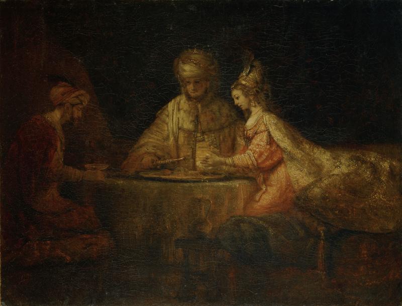 """Rembrandt """"Gastmahl-Esthers-mit-Ahasver-und-Haman"""" 38.7 x 45 cm"""