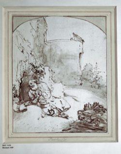 """Rembrandt """"Jonas-an-den-Mauern-von-Ninive"""" 38.7 x 45 cm"""