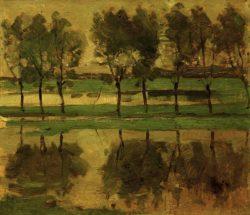 """Piet Mondrian """"Weidenbäume mit Sonne"""" 31 x 35 cm"""