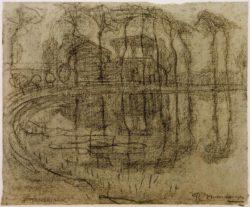 """Piet Mondrian """"Bauernhaus mit Bäumen am Wasser"""" 24 x 29 cm"""