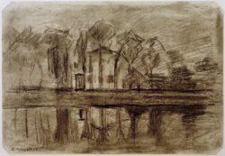"""Piet Mondrian """"Haus mit Bäumen am Wasser"""" 34 x 49 cm"""