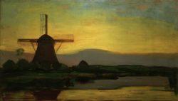 """Piet Mondrian """"Oostzijder Mühle am Abend"""" 67 x 117 cm"""