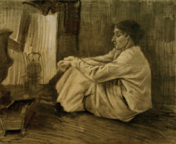 """Vincent van Gogh """"Eine sitzende Frau (""""Sien"""") beim Ofen"""" 45,2 x 55,7 cm"""