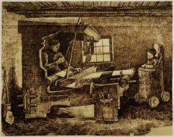 """Vincent van Gogh """"Weber mit einem Kleinkind in einem Hochsessel"""" 31,5 x 39,9 cm"""
