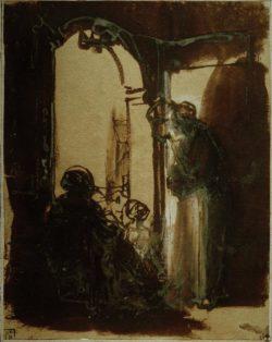 """Rembrandt """"Drei-Frauen-an-der-Tür"""" 55.5 x 44 cm"""