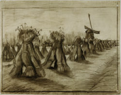 """Vincent van Gogh """"Kornbuendel und Windmuehle"""" 44,3 x 56,3 cm"""