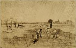 """Vincent van Gogh """"Friedhof im Regen"""" 23 x 27 cm"""