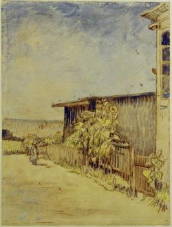 """Vincent van Gogh """"Schuppen mit Sonnenblumen"""" 31,6 x 24,1 cm"""
