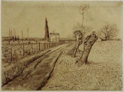 """Vincent van Gogh """"Landschaft mit Weg und Kopfweiden"""", 25,8 x 34,7 cm"""