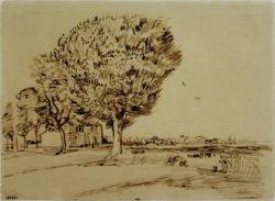 """Vincent van Gogh """"Landschaft mit Haus und Baeumen"""", 26,6 x 23,9 cm"""