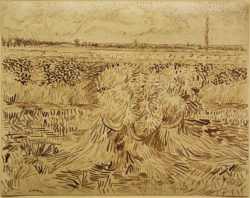 "Vincent van Gogh ""Weizenfeld mit Kornbuendel"", 24,2 x 31,7 cm"