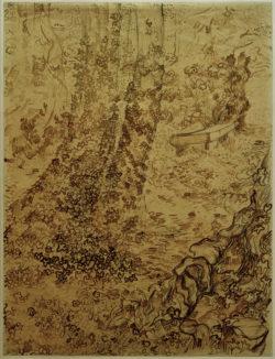 """Vincent van Gogh """"Baeume mit Efeu im Garten der Heilanstalt"""" (Garten der Heilanstalt Saint-Paul-de-Mausole in Saint-Rémy-de-Provence) 62,3 x 47,1 cm"""