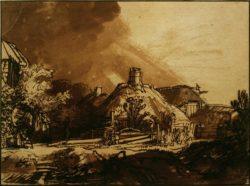 """Rembrandt """"Häuser-unter-gewittrigem-Himmel"""" 262 x 206 cm"""