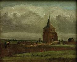 """Vincent van Gogh """"Der alte Friedhofsturm in Nuenen mit pfluegendem Bauer"""" 36 x 44,3 cm"""
