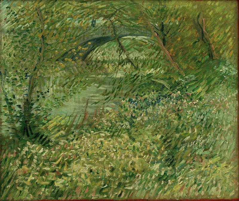 """Vincent van Gogh """"Seineufer im Fruehling am Pont de Clichy"""" 50 x 60 cm"""