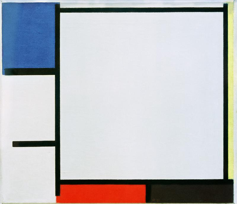"Piet Mondrian ""Composition with blue yellow red black and grey"" 42 x 49 cm"