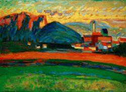 "Wassily Kandinsky ""Berglandschaft Mit Dorf"" 96 x 70 cm"