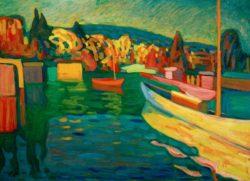 """Wassily Kandinsky """"Herbstlandschaft Mit Booten"""" 96 x 71 cm"""