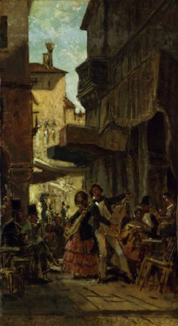 "Carl Spitzweg ""Italienische Straßensänger"" 46 x 26 cm"