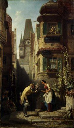 """Carl Spitzweg """"Der ewige Hochzeiter"""" 48 x 27 cm"""
