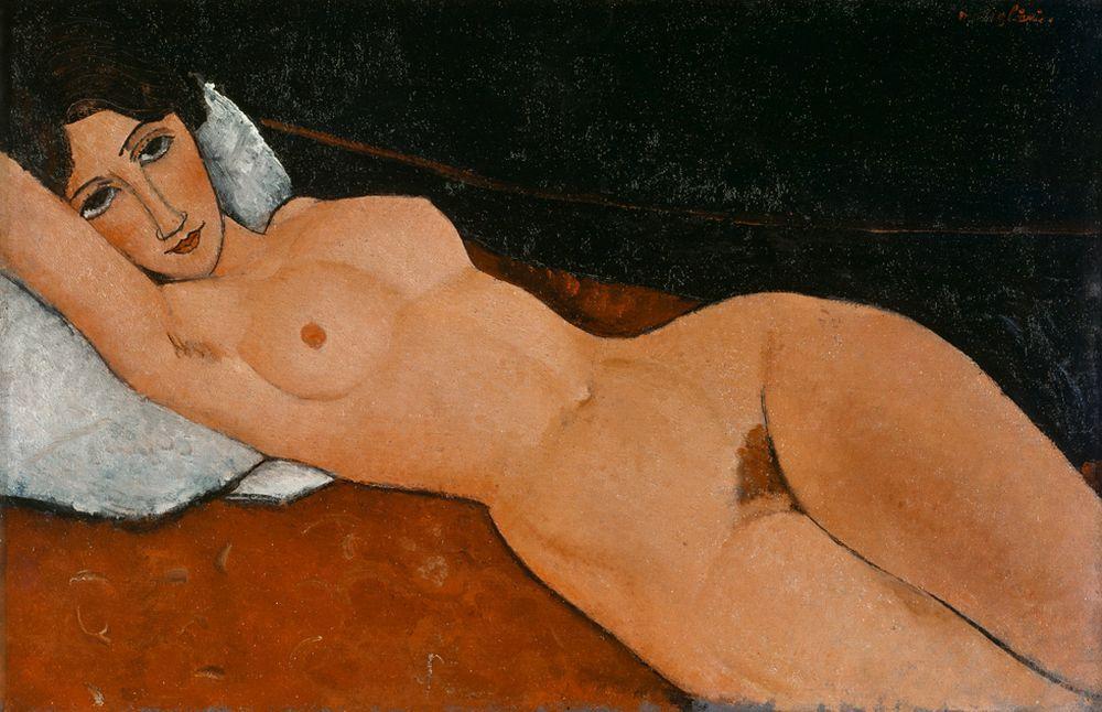"""Amedeo Modigliani """"Liegender Frauenakt auf weißem Kissen"""" 60 x 92""""cm"""