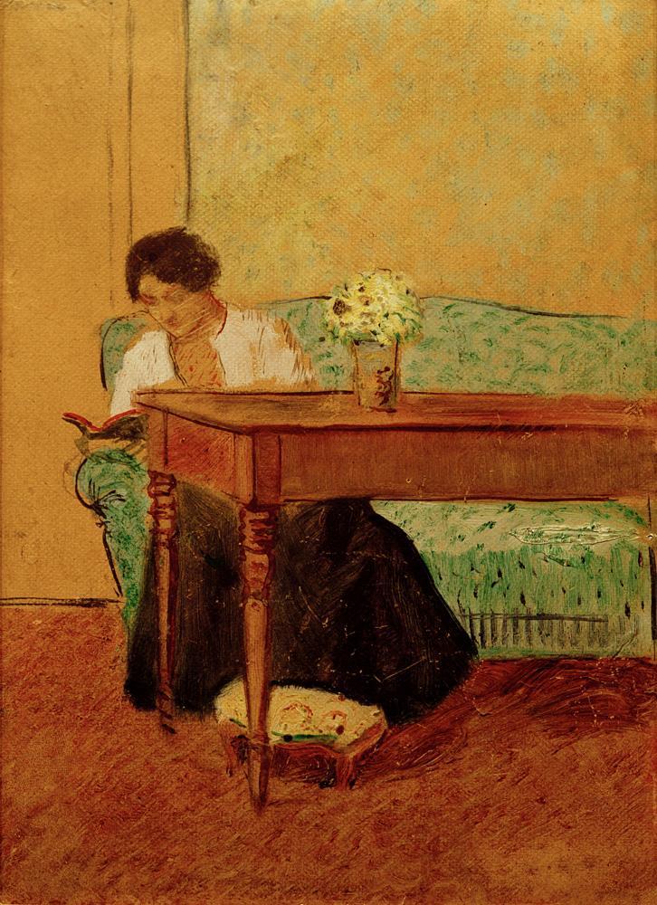 "August Macke ""Elisabeth auf grünem Sofa, lesend"" 16 x 22 cm"